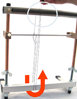 Pull Thread Up Front of Loom