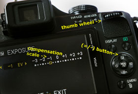 On this camera, tapping the =/* button brings up a scale on the monitor. The setting is changed by turning the thumbwheel.