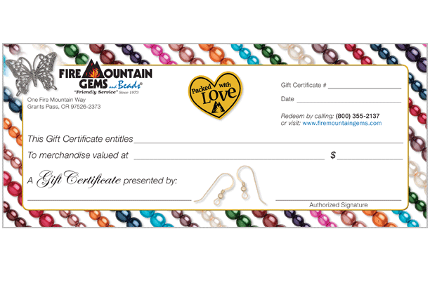 Gift Certificates Fire Mountain Gems And Beads