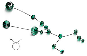 Emerald Swarovski Crystal Beads and Components