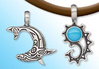 Antiqued Pewter Symbol and Shape Pendants