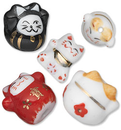 Porcelain Beckoning Cat Beads
