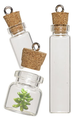 Glass Bottle with Cork Stopper Components