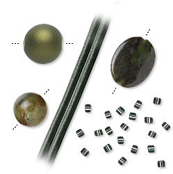 Avocado Green Colored Beads and Components