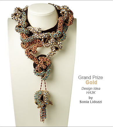 Swarovski crystal Contest Grand Prize Gold Medal Winner by Sonia Lidozzi - Design Idea HA3K