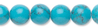 Bead, turquoise (imitation), 8mm round. Sold per pkg of (10) 16-inch strands.