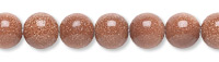 Bead, brown goldstone (manmade), 6mm round. Sold per pkg of (10) 16-inch strands.