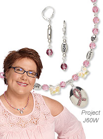 Locket for Hope: Necklace and Dangle Earring Set Featuring Preciosa Czech Crystal Beads, ''Hope'' Beads and Awareness Ribbon Locket Pendant