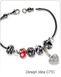 Bracelet with Dione® Large-Hole Beads and Antiqued Silver-Plated ''Pewter'' Charm