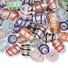 Assorted fancy oval glass beads, 10x6mm. Sold per pkg of 50-grams.