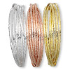 Bangle mix, gold- / silver- / copper-finished steel, (7) 3mm interlocking bands with swirl design, 2-3/4 inch inside diameter. Sold per pkg of 3.