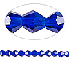 Bead, Celestial Crystal®, glass, 16-facet, cobalt, 4mm faceted bicone. Sold per 16-inch strand.