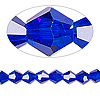 Bead, Celestial Crystal®, glass, 16-facet, cobalt, 6mm faceted bicone. Sold per 16-inch strand.