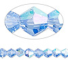 Bead, Celestial Crystal®, glass, 16-facet, light blue AB, 6mm faceted bicone. Sold per 16-inch strand.