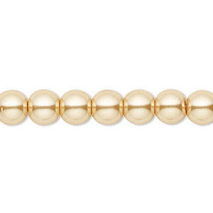 Bead, Celestial Crystal®, glass pearl, gold, 8mm round. Sold per pkg of (2) 16-inch strands.
