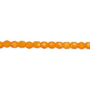Bead, Czech fire-polished glass, opaque orange, 4mm faceted round. Sold per 16-inch strand, approximately 100 beads.