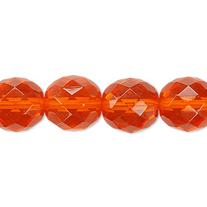 Bead, Czech fire-polished glass, orange, 12mm faceted round. Sold per 16-inch strand, approximately 35 beads.