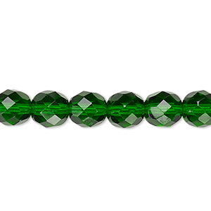 Bead, Czech fire-polished glass, transparent emerald green, 8mm faceted round. Sold per 16-inch strand, approximately 50 beads.