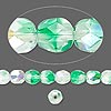 Bead, Czech fire-polished glass, two-tone, crystal / green AB, 6mm faceted round. Sold per pkg of 1 mass.