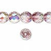 Bead, Czech fire-polished glass, two-tone, crystal / lavender AB, 10mm faceted round. Sold per pkg of 1/2 mass.