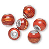 Bead, Dione™, lampworked glass and aluminum, opaque red and dark red with silver-colored foil, 14mm round with 3mm hole. Sold per pkg of 6.