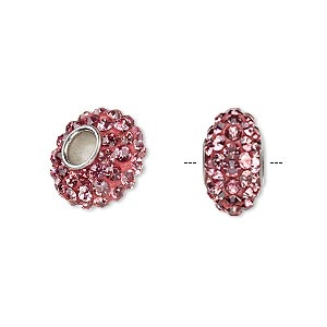 Bead, Dione®, Czech glass rhinestone / epoxy / imitation rhodium-plated brass grommet, pink, 13x8mm-14x8mm rondelle, 4.5mm hole. Sold individually.