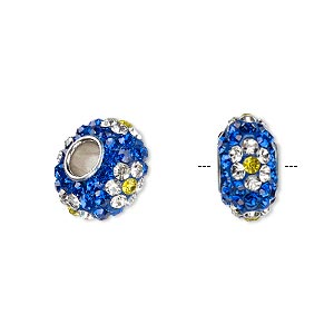 Bead, Dione®, Czech glass rhinestone / epoxy / imitation rhodium-plated brass grommet, blue / clear / light yellow, 13x8mm-14x8mm rondelle with flower design, 4.5mm hole. Sold individually.