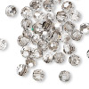 Bead, German crystal, clear with satin finish, 6mm faceted round. Sold per pkg of 12.