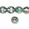 Bead, Preciosa® Czech fire-polished glass, green/grey, 12mm faceted round. Sold per pkg of 600 (1/2 mass).