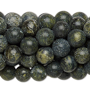 Bead, Russian serpentine (natural), 8mm round, C grade, Mohs hardness 2-1/2 to 5. Sold per pkg of (10) 16-inch strands.