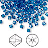 Bead, Swarovski crystal, Capri blue, 4mm Xilion bicone (5328). Sold per pkg of 1,440 (10 gross).