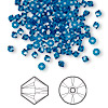 Bead, Swarovski crystal, Crystal Passions®, Capri blue, 3mm Xilion bicone (5328). Sold per pkg of 144 (1 gross).