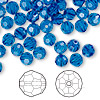 Bead, Swarovski crystal, Crystal Passions®, Capri blue, 6mm faceted round (5000). Sold per pkg of 144 (1 gross).