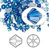 Bead, Swarovski crystal, Crystal Passions®, Glacier, 4mm Xilion bicone (5328) and faceted bicone (5301). Sold per pkg of 48.