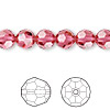 Bead, Swarovski crystal, Crystal Passions®, Indian pink, 8mm faceted round (5000). Sold per pkg of 12.