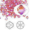 Bead, Swarovski crystal, Crystal Passions®, Indian pink AB2X, 4mm Xilion bicone (5328). Sold per pkg of 144 (1 gross).