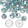 Bead, Swarovski crystal, Crystal Passions®, Indian sapphire AB, 8mm faceted round (5000). Sold per pkg of 144 (1 gross).