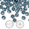 Bead, Swarovski crystal, Crystal Passions®, Montana, 6mm faceted round (5000). Sold per pkg of 144 (1 gross).