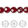 Bead, Swarovski crystal, Crystal Passions®, Siam, 10mm faceted round (5000). Sold per pkg of 24.