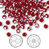 Bead, Swarovski crystal, Crystal Passions®, Siam AB, 4mm faceted round (5000). Sold per pkg of 144 (1 gross).
