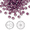 Bead, Swarovski crystal, Crystal Passions®, amethyst, 4mm faceted round (5000). Sold per pkg of 144 (1 gross).