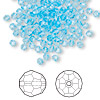 Bead, Swarovski crystal, Crystal Passions®, aquamarine, 3mm faceted round (5000). Sold per pkg of 144 (1 gross).