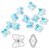 Bead, Swarovski crystal, Crystal Passions®, aquamarine, 6x5mm faceted butterfly (5754). Sold per pkg of 12.
