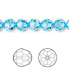 Bead, Swarovski crystal, Crystal Passions®, aquamarine, 8mm faceted round (5000). Sold per pkg of 12.
