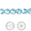 Bead, Swarovski crystal, Crystal Passions®, aquamarine AB, 8mm faceted round (5000). Sold per pkg of 12.