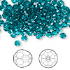 Bead, Swarovski crystal, Crystal Passions®, blue zircon, 4mm faceted round (5000). Sold per pkg of 144 (1 gross).