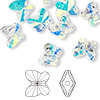 Bead, Swarovski crystal, Crystal Passions®, crystal AB, 10x9mm faceted butterfly (5754). Sold per pkg of 48.