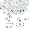 Bead, Swarovski crystal, Crystal Passions®, crystal AB, 4mm faceted round (5000). Sold per pkg of 144 (1 gross).