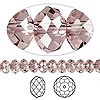 Bead, Swarovski crystal, Crystal Passions®, crystal antique pink, 6x4mm faceted rondelle (5040). Sold per pkg of 12.