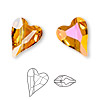 Bead, Swarovski crystal, Crystal Passions®, crystal astral pink, 17x13mm diagonally drilled faceted wild heart (5743). Sold per pkg of 12.